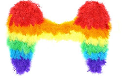ncy Dress Fairy Angel Rainbow Feather Wings ()