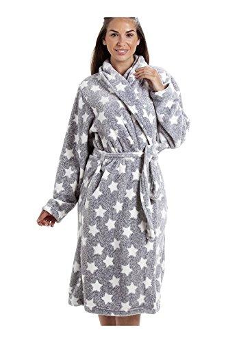 Robe de chambre en polaire toucher velours - col châle - motif étoiles - blanc/gris 38/40