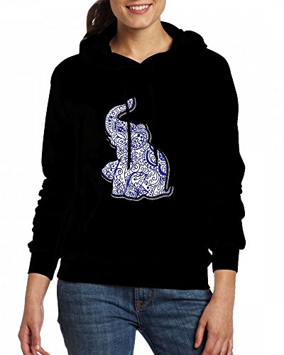 Elephant Womens Hoodie Fleece Custom Sweartshirts Black