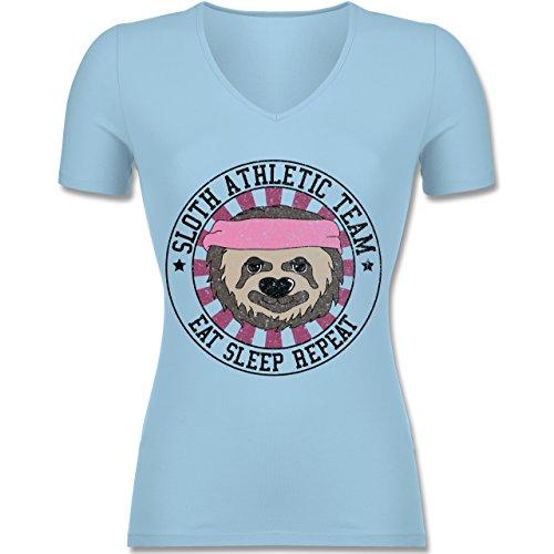 Statement Shirts - Sloth Athletic Team Faultier - Tailliertes T-Shirt mit V-Ausschnitt für Frauen Hellblau