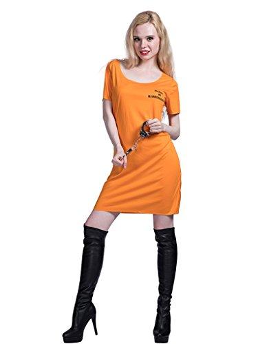 EraSpooky Damen Orange Gefängnis Gefangene Uniform Kostüm