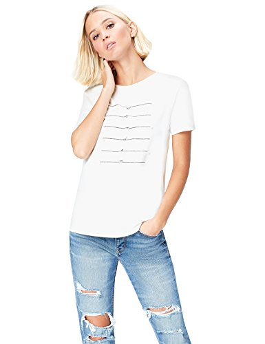 FIND Damen T-Shirt mit Perlendetails, Weiß (White), 36 (Herstellergröße: Small) (Baumwolle Aus Perlen T-shirt)