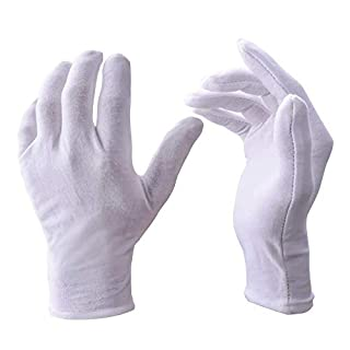 White Cotton Gloves,Aocool 12 Pairs XL Strechable Gloves,Parade Costume Gloves for Police Formal Tuxedo Honor Guard,Soft Gloves for Cosmetic Moisturizing and Coin Jewelry Silver Inspection
