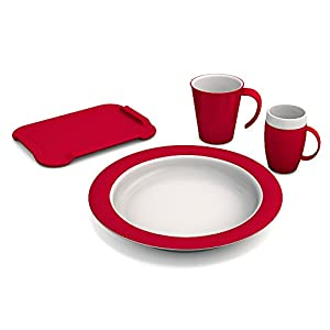 Ornamin Dementia Set Plus 4 pcs. |Aid for the support of independent eating and drinking | melamine, dinner set, eating and drinking aids, aid for the elderly