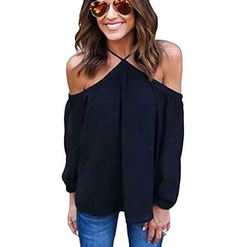 Gilet femme Ularmo Femmes Mode irrégulière Bretelles en mousseline de soie Tops T-shirt (M, Noir)