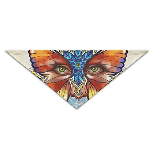 Wfispiy Colorful Butterflies Eyes Tribal Dog Bandanas Scarves Triangle Bibs Scarfs Lovely Basic Neckerchief Cat ()
