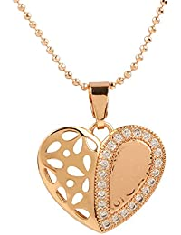 Ananth Jewels Heart Shaped Rose Gold Plated Pendant Necklace For Women - B073T3GDYD