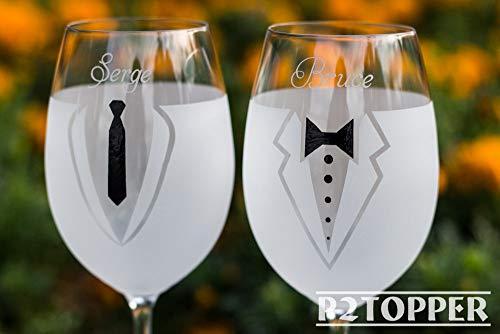 Copas de vino de boda gay, copas de vino gay, regalo de boda gay, copas de vino de Mr y Mr