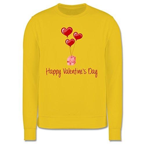 Valentinstag - Happy Valentine's Day Geschenk Herz Luftballon - Herren Premium Pullover Gelb