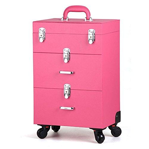 3 in 1 Bloccabile Valigia Trucco Beauty Case Trolley Carrello Bellezza Unghie cosmetico Artista Astuccio Bagaglio Organizzatore Conservazione Scatola con 2 Cassetti 4 Ruota, pink