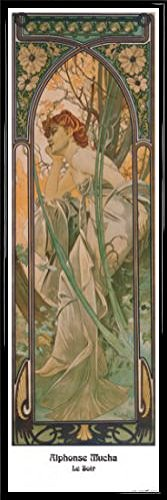 Alphonse Mucha Poster Kunstdruck und Kunststoff-Rahmen - Die Vier Tageszeiten, Der Abend, 1899 (91 x 30cm)