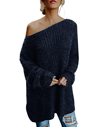 Minetom Femme Oversize Pull Tops Sans Bretelles Manches Longues Casual Pull Robe Long Souple Chaud Sweater Tricotés Tops Bleu FR 44