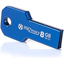 8GB USB 2.0 Flash Drive in Key Shape Mini ** waterproof & fast ** Extreme Tough Made of Metal ( Stainless Steel ) ** Ideal for Key-Chain ** in Blue by meZmory ®