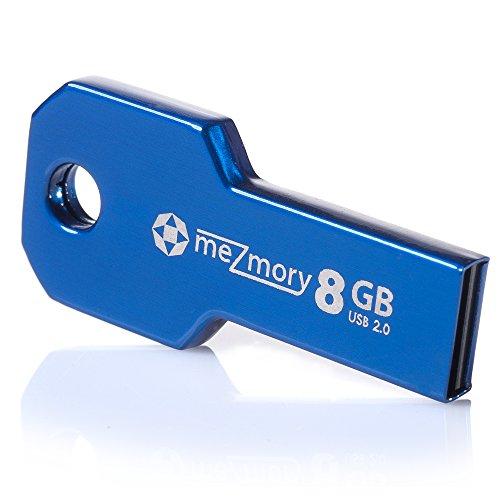 Preisvergleich Produktbild meZmory Schlüssel USB Stick 8GB Blau - Hochwertig & Einzigartiges Mini Design - USB 2.0 Speicherstick Wasserdicht & Extrem Robust aus Metall - Flash-Drive Ideal für Schlüssel-Anhänger