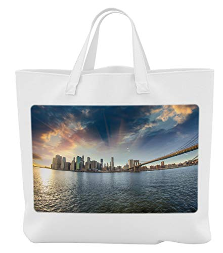 Merchandise for Fans Einkaufstasche- 38x42cm, 8 Liter - Motiv: New York Manhattan Brooklyn Bridge Panorama [ 11 ]