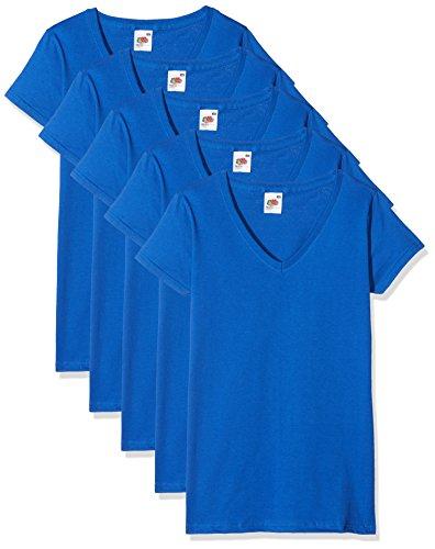 Blue Womens V-neck T-shirt (Fruit of the Loom Damen Regular Fit T-Shirt Valueweight V neck Lady-fit 5 Pack, Blau (Royal Blue 51), XXL (Herstellergröße: XXL))