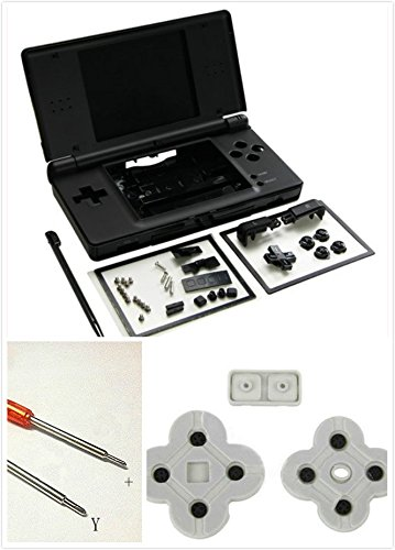 Ersatz Full Gehäuse Schale Schutzhülle mit Tasten Schrauben für Nintendo DS Lite NDSL–Schwarz