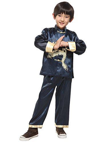 Yodensity Kinder Jungen Kung Fu Anzug Chinesischen Drachen Stickerei Lange Ärmel Tang Uniform Kostüm