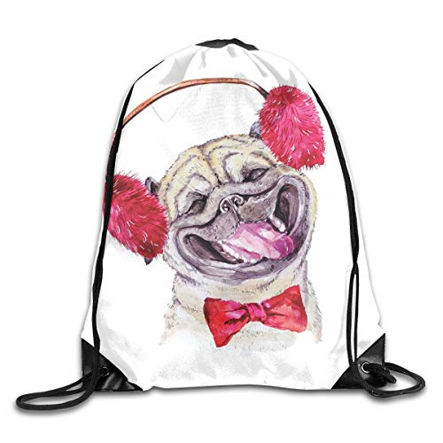 EELKKO Drawstring Backpack Gym Bags Storage Backpack, Watercolor Drawing of Dog with Furry Winter Headphones and A Bow Tie Happy Cute Animal,Deluxe Bundle Backpack Outdoor Sports Portable Daypack (Tie-bundle Bow)