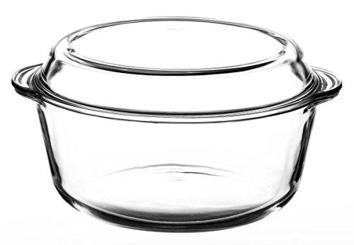 Pasabahce Glas Auflaufform 3,15 L rund mit Deckel Bräter Schüssel Schale Glasschale