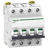 Schneider electric a9F75420iC60N disjoncteur, acti9, Courbure D, 4P, 85mm hauteur x 72mm largeur x 78.5mm profondeur, 20A Courant, 50/60Hz, Blanc