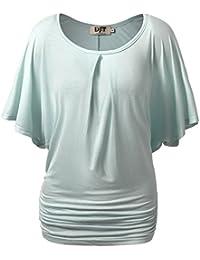 DJT Femme T-Shirt Manches Chauve-souris Epaules nus Col Rond Tunique