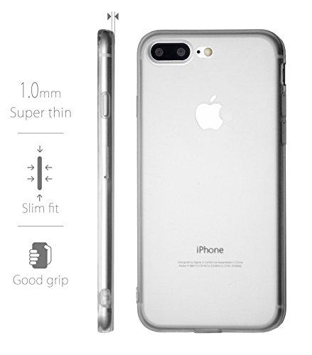 MyGadget PC Plastik Hülle für - Apple iPhone 7 Plus- ultra dünn & leicht (0,8 mm / 6 gr.) harter Bumper Schutzhülle Cover Case Anti Kratz Schutz in Grau TPU Transparent
