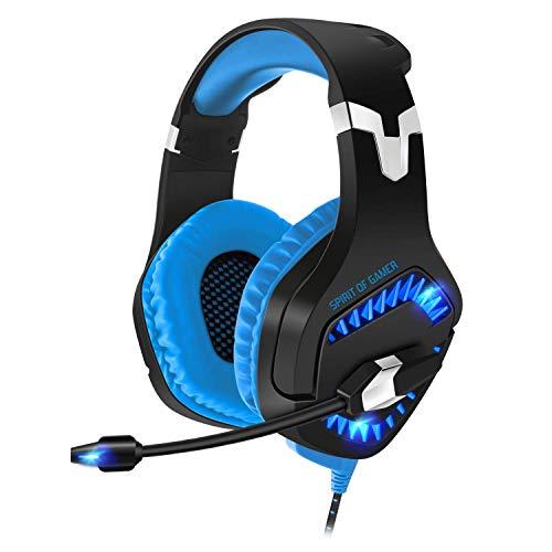 SPIRIT OF GAMER - Elite-H40 - Blaues Gamer - Headset Kopfhörer - Flexibles Mikrofon - Blaue LED-Hintergrundbeleuchtung - Kompatibler Multiplattform - PC / PS4 / XBOX ONE / Switch