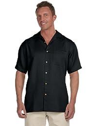 Harriton Men's Bahama Cord Camp Shirt -  Black -