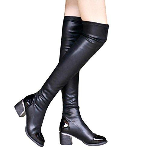 Damen Schuhe Dasongff Damen Stiefel Mode Leder Overknee Schlupfstiefel Frauen Boots Schnalle Square Schuhe Toe Elastic Stretch Starke Ferse Langschaft Stiefel (RU/EU/CN 40, Schwarz)