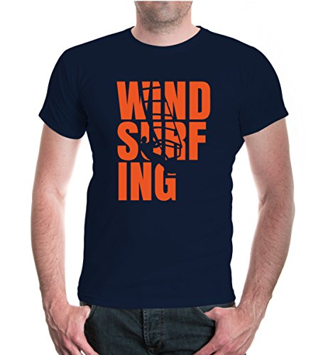 buXsbaum Herren Unisex Kurzarm T-Shirt Bedruckt Windsurfing Type   Wassersport Windsurfen   L Navy-Orange Blau