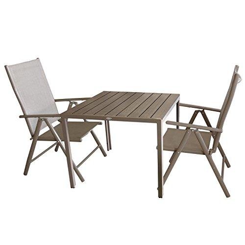 Multistore 2002 3tlg. Bistrogarnitur Aluminium Gartentisch mit Polywood Tischplatte, Champagner/Mokka 90x90cm + 2x Hochlehner mit 7-fach verstellbarer Rückenlehne Textilenbespannung Gartengarnitur