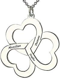 144d59eee899 Panicy Collar Personalizado de 3 Corazones en Plata - Regalo Colgante  Grabado Personalizado con Nombres