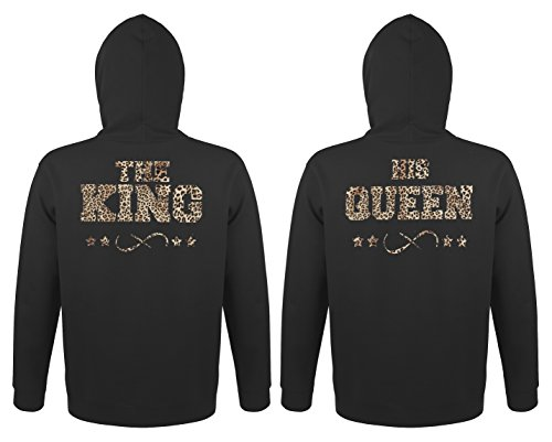 TRVPPY - Couple Partenaire 2x Sweat Pull à capuche / modèle THE KING & HIS QUEEN / pour Homme & Femme / différentes tailles et couleurs Leo-Noir