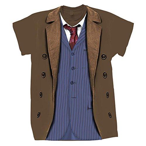 Doctor Who T-Shirt 10. Doctor David Tennant Kostüm Shirt Baumwolle Braun - ()
