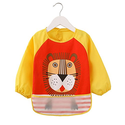 oral-bib-with-sleeves-q-long-arm-baby-bibs-dribble-childs-apron-xff08-yellow-blue-black-xff09