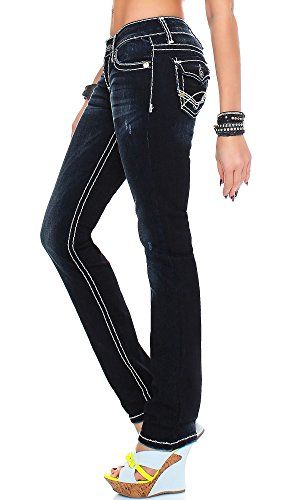 Cipo & Baxx Damen Jeans Hose CBW-231 Straight-Cut Dunkelblau