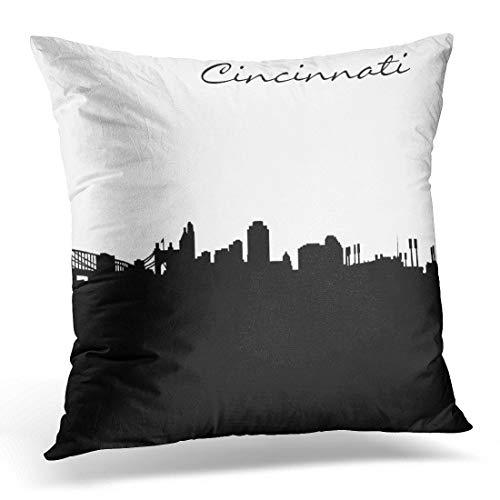 g City of Cincinnati Ohio Skyline Wahrzeichen dekorative Kissenbezug schwarz hauptdekoration Platz Kissenbezug Kissenbezug,45x45 ()