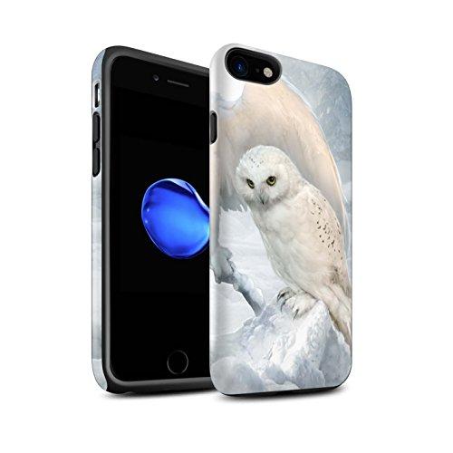Officiel Elena Dudina Coque / Matte Robuste Antichoc Etui pour Apple iPhone 8 / Âmes Blanches/Des Bois Design / Les Oiseaux Collection Hiboux d'Hiver/Arctique