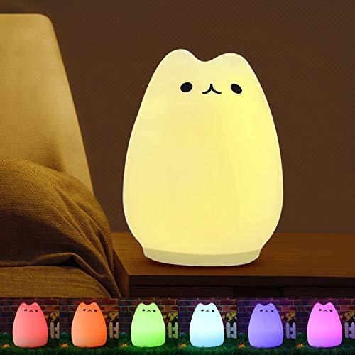 Vitutech luce notturna per bambini, decorazioni luce notturne, giocattolo di decompressione multicolore lampada gatto di ricarica silicone luce notturna led per camerette letto bambini