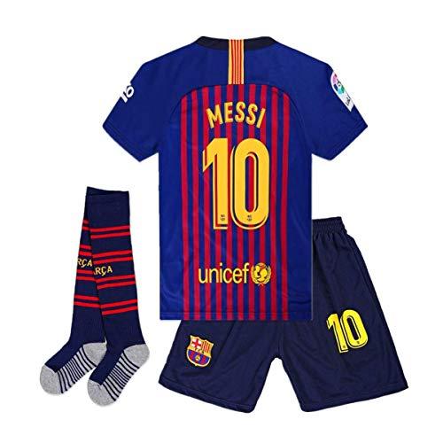 Brosin Fußball-T-Shirt Sportanzug Trikot, Nr. 10 Messi Barcelona Fußball-Sportbekleidung, Jungen-T-Shirt Für Kinder (8-10 Years of age/26, Home 2019) - Trikot Messi Jungen