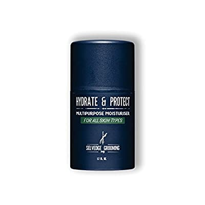 Selvedge Hydrate & Protect - Face Moisturiser for Men - 50ml - Anti-inflammatory and Calming Facial Cream & Aftershave Gel - Packed with Natural Ingredients - Fights Environmental Damage & Post Shave Irritation