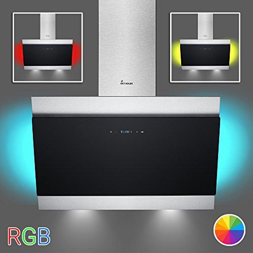 KKT KOLBE BICOLORE90RGB Wand-Dunstabzugshaube/90 cm kopffrei/Edelstahl-Schwarz/Touch Display/Timer/Nachlauf/LED-Beleuchtung/leichte Montage