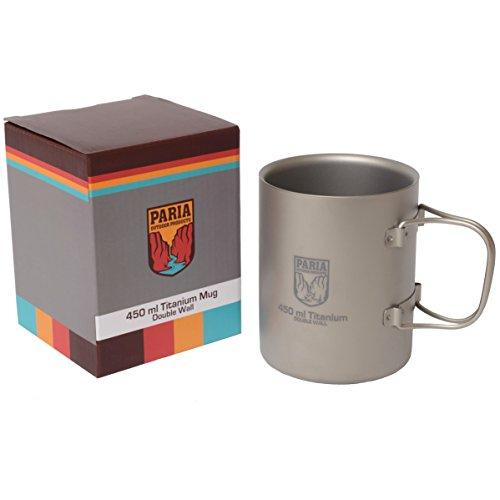 Paria Outdoor Products Titanium 450 ml isolierter Doppelwandbecher/Kaffeetasse - Ultraleicht, kompakt und extrem langlebig - Perfekt für Rucksacktourismus und Camping