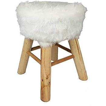 Fellhocker Holz Hocker Sitzhocker Hocker Fußhocker Schemel Stuhl Pelzhocker Holz