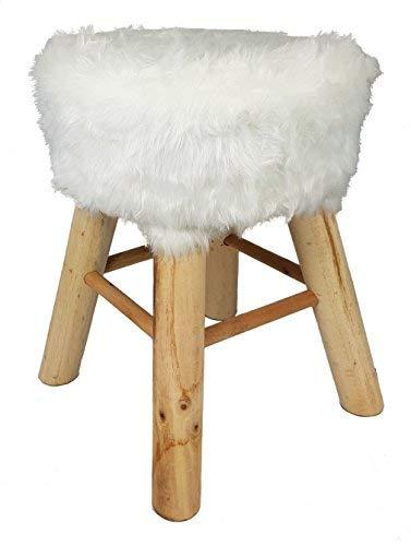 Spetebo Design Fell Hocker weiß - Massiv Holz Sitzhocker - Polsterhocker Holzhocker rund