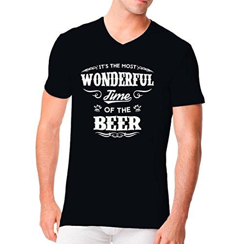 Fun Sprüche Männer V-Neck Shirt - Beer - Wonderful Time by Im-Shirt Schwarz