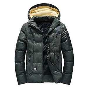 Oasics Herren Mantel, Abnehmbarer Hut, Herbst- und Winterdruck große Verdickung Plus Samttasche offener Hut Reißverschluss Kapuzenjacke Hemd XL-4XL