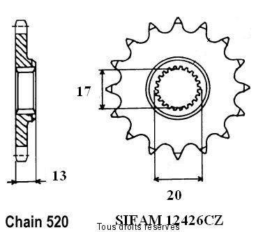 STEEL FRONT SPROCKET TM SMX 530 4T RACING 2012-2012 (13 Teeth)
