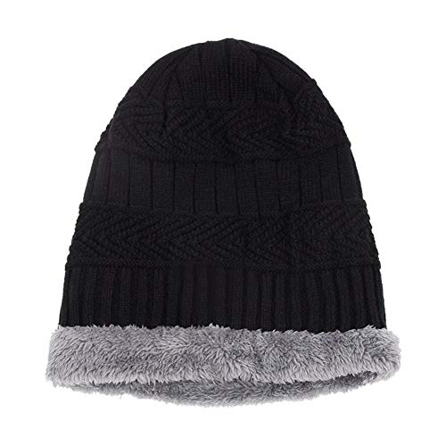 Yourig 2pcs Warm Windproof Knitted Hat Winter Men Beanies Neck Warmer (Black)